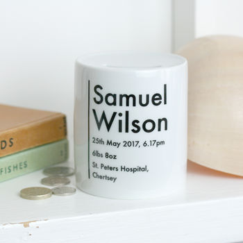 Personalised Money Box New Baby Gift