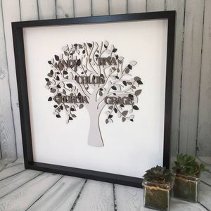 Personalised Shades Of Grey Framed Wooden Family Tree