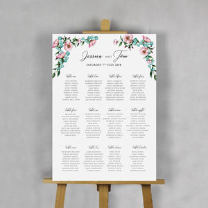 Floral Watercolour Wedding Table Plan