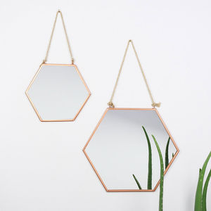 Set Of Two Geometric Copper Mirrors - dining room
