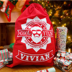 Large Christmas Sack Personalised Cool Yule Design - stockings & sacks