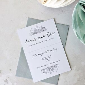 Calligraphy Script Flower Wedding Invitation Set - wedding stationery