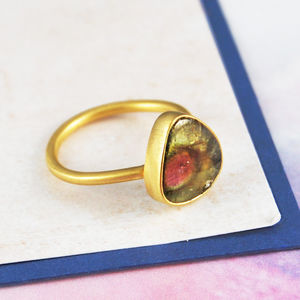 October Birthstone Watermelon Tourmaline Gold Ring - view all fine jewellery