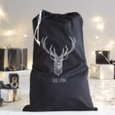 Personalised Geo Stag Santa Sack - christmas decorations