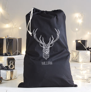 Personalised Geo Stag Santa Sack - stockings & sacks