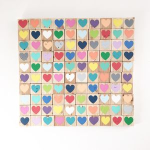 100 Hearts, Reclaimed Wood Mosaic - paintings