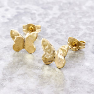 Solid Gold Tiny Butterfly Stud Earrings