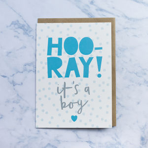 'Hooray It's A Boy' New Baby Card - new baby & christening cards
