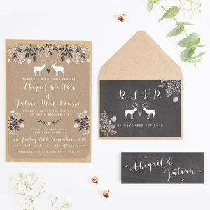 Chalkboard And Kraft Winter Stag Wedding Invitation - invitations