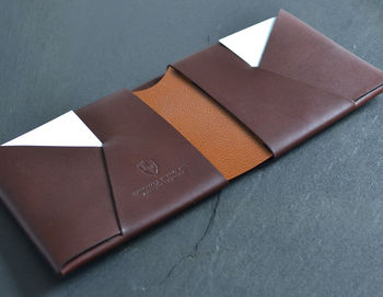 Vintage Style Leather Wallet Coloured Centre