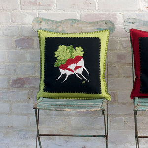 Hand Embroidered Radish Cushion