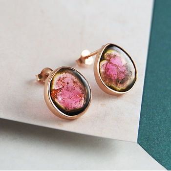 Rose Gold Large Raw Watermelon Tourmaline Earrings