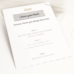'I Have Your Back' Keepsake Sew In Label - more