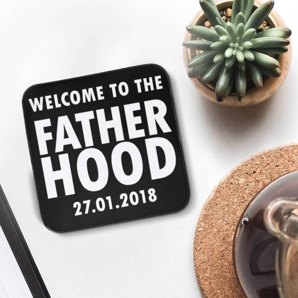 Personalised 'Welcome To The Fatherhood' Coaster