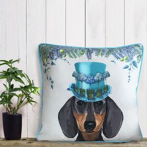 Dachshund Cushion, The Milliners Dogs - patterned cushions