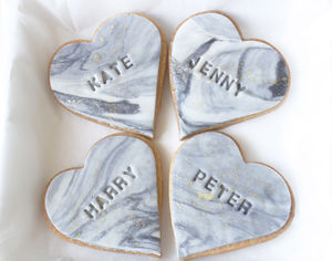 25 Wedding Name Place Heart Cookies - winter styling
