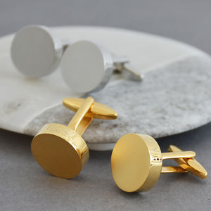 Matt Contrast Personalised Solid Disc Cufflinks