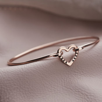 Personalised Heart Open Bangle