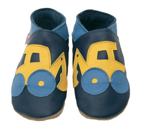 Boys Soft Leather Baby Shoes Digger Navy