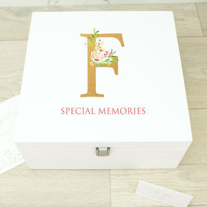 Large Initial White Wooden Memory Box - keepsake boxes