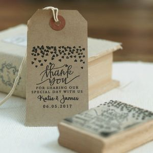 Hearts Design Wedding Favour Stamp