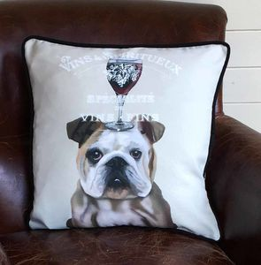 English Bulldog Cushion, Dog Au Vin Wine Gift
