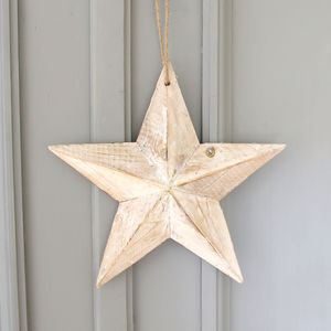 Wooden Hanging Star - tree decorations