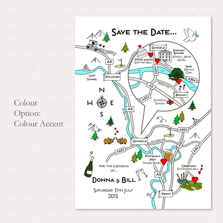 Maps For Wedding Invitations: Illustrated Map Wedding Or Party Invitation By Cute Maps