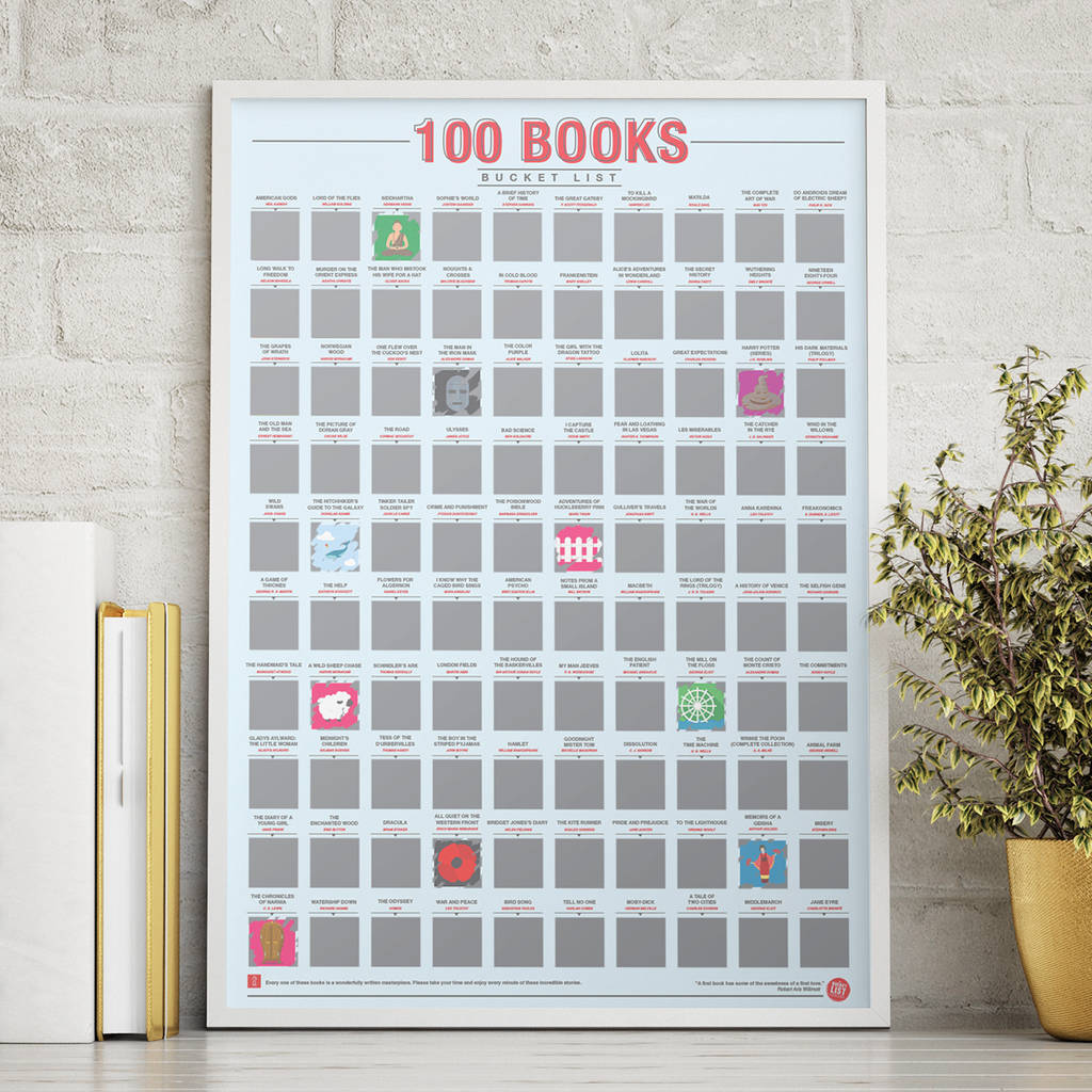 100 Books Scratch Bucket List Poster 60th Birthday Gifts For Book Gift Ideas Bookworms