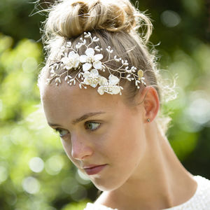 Apple Blossom Headdress - bridal hairpieces