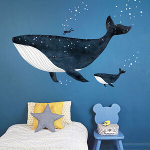 The Whale And The Diver Fabric Wall Sticker