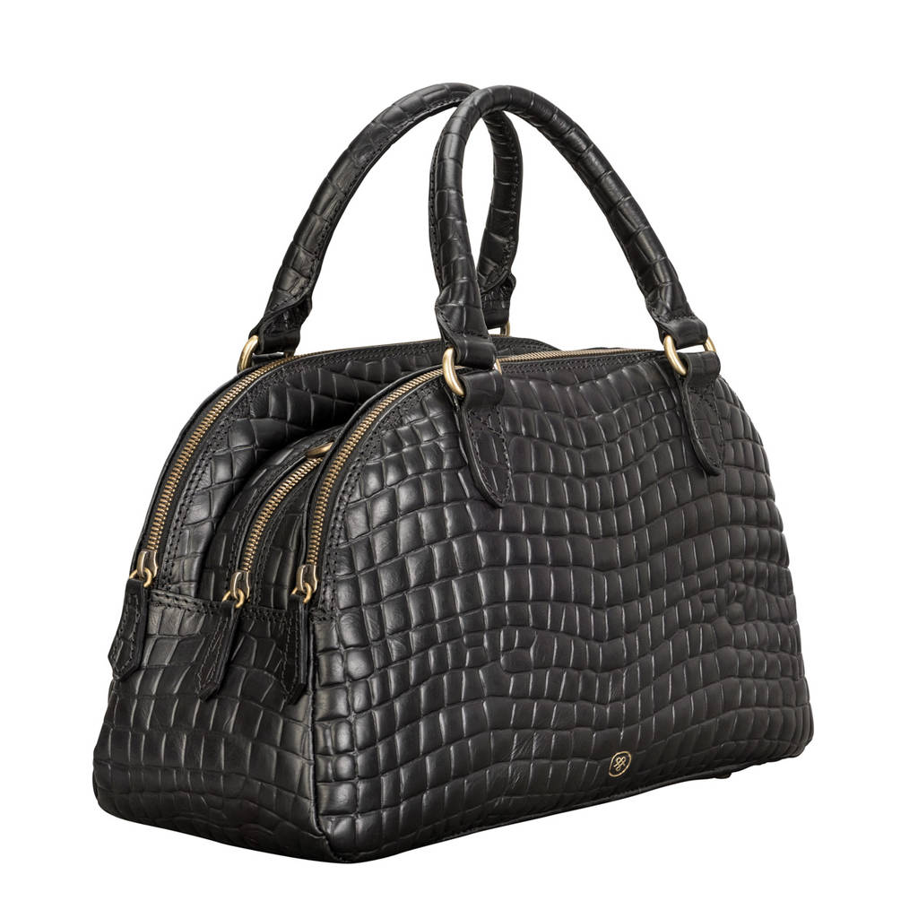 Mock Crocodile Leather Bowling Bag Liliana S Croco