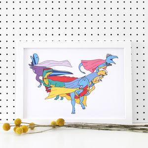 Dinosaur Superhero Group Print - children's pictures & paintings