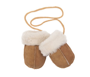 Baby Sheepskin Puddy Mittens On String