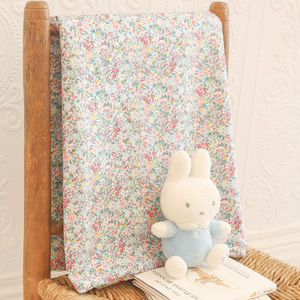 Liberty Print Baby Blanket In Emma And Georgina - sleeping