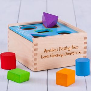 Personalised Postbox Shape Sorter Toy - personalised gifts for babies