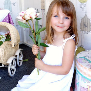 Flower Girl's White Cotton Summer Dress - dresses