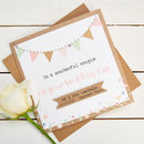 Wedding Day Card Personalised Kraft And Pastel Bunting