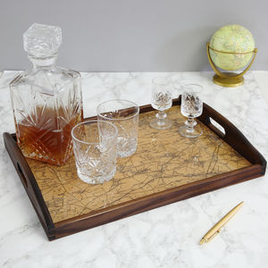 Personalised Vintage Map Drinks Tray - trays