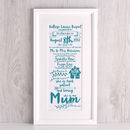Typographic Birthday Mum and children Art print
