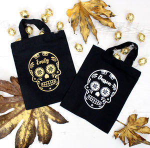 Halloween Sugar Skull Personalised Trick Or Treat Bag - fancy dress for babies & children