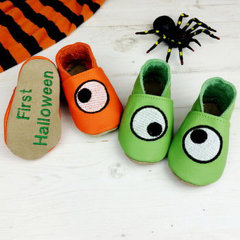 Personalised 1st Halloween Googly Eye Baby Shoes