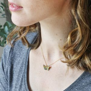 Colourful Butterfly Pendant Necklace
