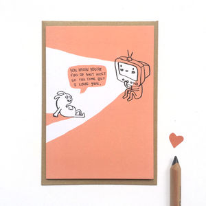 'I Love You' TV Greetings Card - anniversary cards