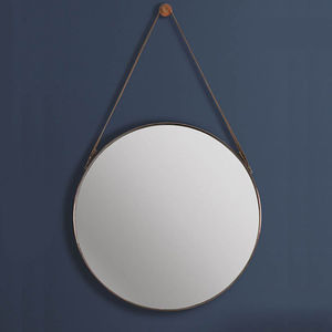 Round Copper And Leather Hanging Wall Mirror - dining room
