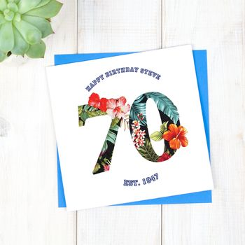 Personalised Hawaiian Mens 70th Birthday Card