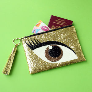 Glitter Eye Clutch Bag Brown - clutch bags