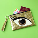Glitter Eye Clutch Bag Brown
