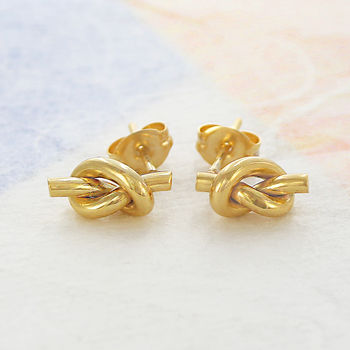 Friendship Knot Gold Stud Earrings