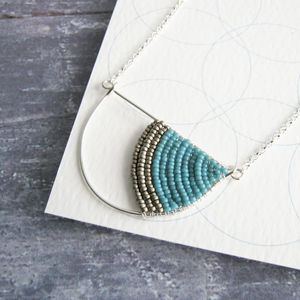 Silver Geometric Arc Necklace